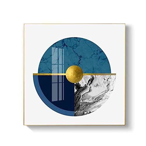 SYyshyin Mural Nueva visión Aleación de Aluminio Resumen posmoderno Ronda E1 Grado Alta Permeabilidad Cristal Cristal Porcelana Sala de Estar Sofá Fondo Pared Hotel Villa Pinturas geométricas (Zafiro