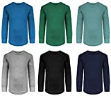 Boys/Toddler 6 Pack Athletic Performance Long Sleeve Undershirt Tops/Base Layer Cotton Stretch Shirts (6 Pack- Evergreen/Blue/Arctic/Black/Grey/Navy, 5/6)