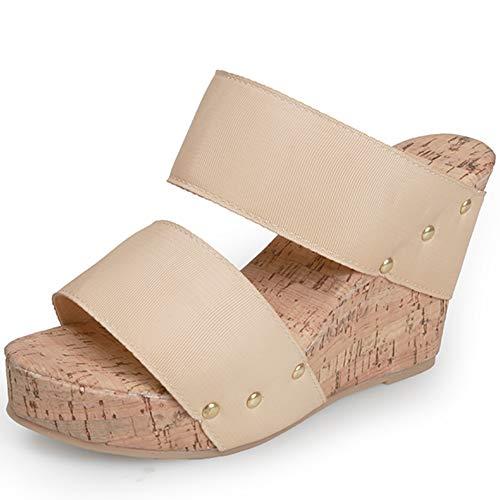 SaraIris Wedge Sandals for Women - Platform Sandals with Double Elastic Band Slingback Slip-on Heeled Wedge Slides