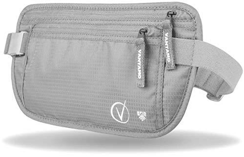 Bauchtasche Flach, Sicherheitstasche RFID-geschützt, Geldgürtel Für Reisen passend für Reisepass mit Abdeckung, inkl. Global Recovery Tags (Stilvolles Grau)