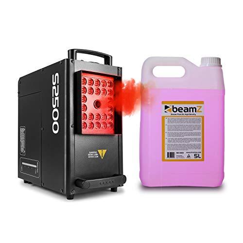 beamZ S2500 Nebelmaschine mit LED - DMX, 2500 W, 24 x 10 W, 3.5 L Tank, Intervall, Dauer und Intensität einstellbar, inkl. 5-Liter-Nebelfluid, schwarz