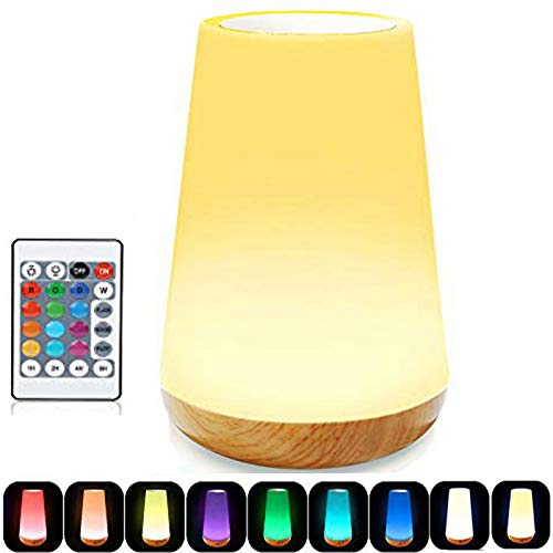 ROYFACC LED Night Light Touch Lamp Bedside Table Lamp for Kids Bedroom Rechargeable Dimmable with Remote Control Warm White Light RGB Color Changing