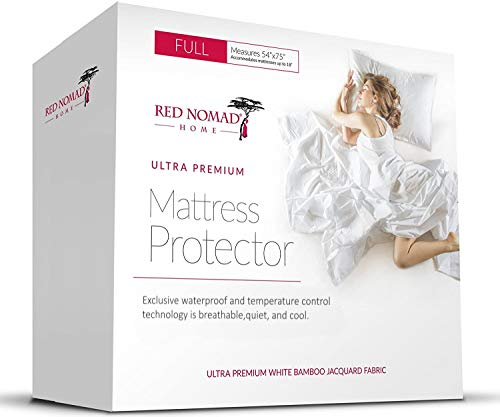 Red Nomad Waterproof Mattress Protector, Bed Mattress Cover, Super Soft Bamboo Bed Cover - Full Size