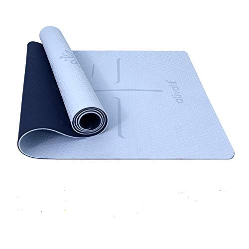 ATIVAFIT - Esterilla de gimnasia de TPE antideslizante, para yoga, ejercicio, pilates y entrenamiento, con correa de transporte, dimensiones: 183 x 64 x 0,6 cm, azul