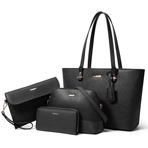 Mode-Handtaschenset für Damen, Tragetasche, Schultertasche, Umhängetasche, mit Tragegriff, 4-teiliges Set, (Ablack), Large