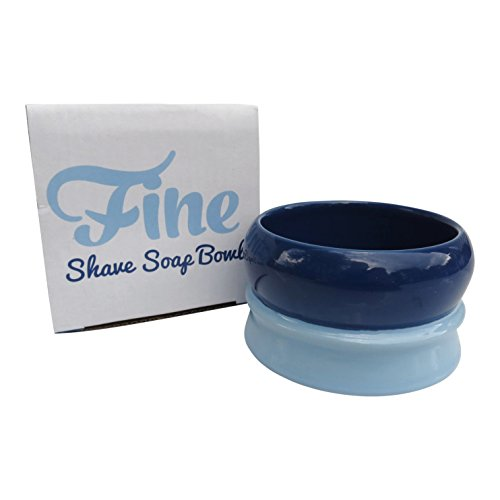 Fine Accoutrements Classic Shaving Soap Bowl, Solid Stoneware Construction, Stackable and Color Coded, Dark Blue and Light Blue