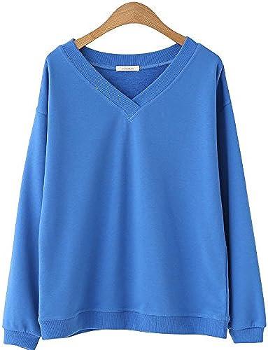 Xuanku Chemise à Manches Longues avec Une Série De Premières Les Les dames Chandail Coton De Couleur Solide V-Neck T-Shirt à Manches Longues avec Une Atmosphère Détendue Et Polyvalent