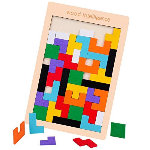 Rolimate Rompecabezas de Madera Wooden Tetris Puzzle Rompecabezas, Juguete de Inteligencia Stem Montessori Regalo de cumpleaños Educativo para 3 4 5+ años Niño Niña, Juego de Bloques (40 PCS)