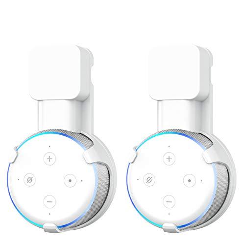 Wandhalterung für Dot (3. Generation) Halterung von Wigoo, Keine Schrauben notwendig, Dot 3 Zubehör - Ideal für Küche, Bad und Schlafzimmer- Weiß(2 Pack)