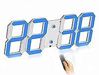 TLYH壁掛け時計 デジタル 大型 くり抜く3D led wall clock 時計 LEDデジタル 目覚まし時計 時計 壁掛け 置き時計 置時計 おしゃれ 多機能 明るさ調整 スヌーズ アラーム 12H/24H時間表示 立体 ホワイトシェルブルーワード