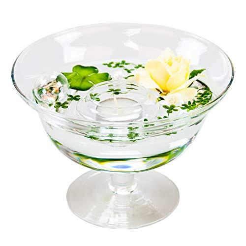 Ronde glazen schaal Roxy 76 hoogte 13 cm ø 18 cm. Vlakke glazen schaal op voet met decoratie Rose crème-wit Decoratieve schaal van Glaskönig
