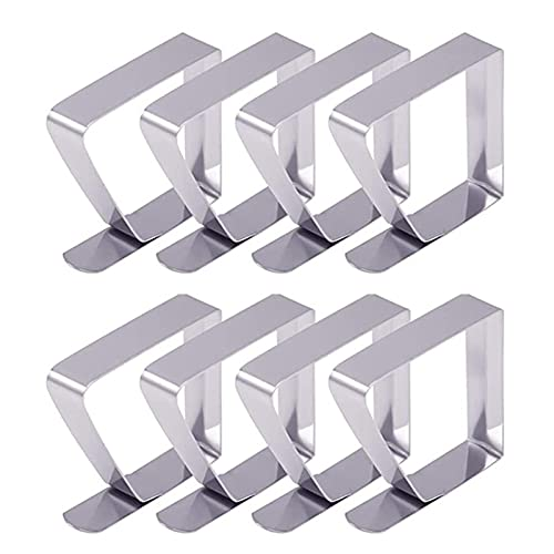WOTEG - Pinzas para mantel de mesa con 8 pinzas de acero inoxidable, antideslizantes, fijación, mantel para mesa de grosor