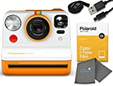 Polaroid Now I-Type Instant Film Camera - Orange Bundle with a Color i-Type Film Pack (8 Instant Photos) and a Lumintrail Cleaning Cloth