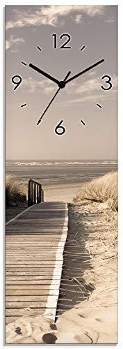 Artland Wanduhr ohne Tickgeräusche aus Glas Funkuhr 20x60 cm Rechteckig Lautlos Strand Meer Nordsee Düne Urlaub Maritim S7NG