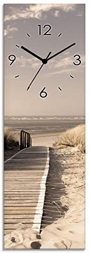 Artland Wanduhr ohne Tickgeräusche aus Glas Quarzuhr 20x60 cm Rechteckig Lautlos Strand Meer Nordsee Düne Urlaub Maritim S7NG