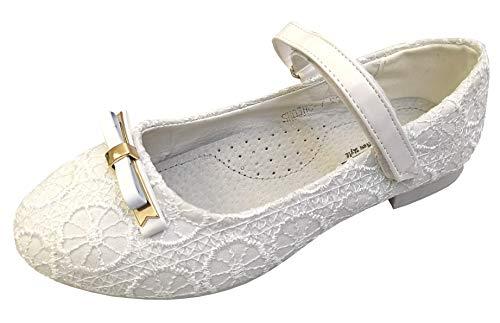 deine-Brautmode Kinderschuhe Schuhe Spitze Ballerina innen Leder Mädchenschuhe Kommunion, Spitze-Ballerinas 36
