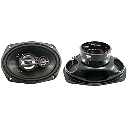 """Lanzar Upgraded Standard 6"""" x 9"""" 3 Way Pair of Triaxial Speakers - Powerful 600 Watts and 4 Ohms 2.5"""" Polymer Cone Midrange 1"""" Tweeter 40 - 22 kHz Frequency Response and 36 Oz Magnet Structure - MX693"""