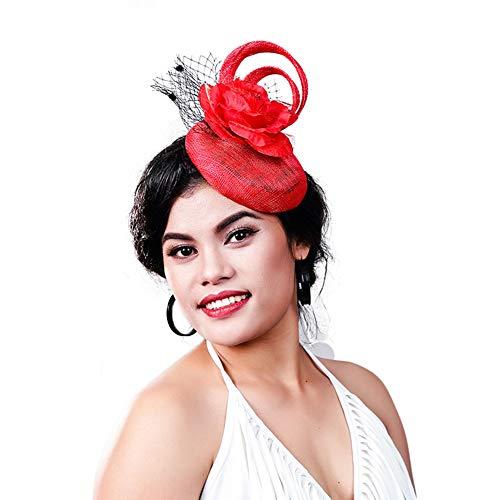 D&XQX Red Chic Sinamay Pillbox Sombreros Mujeres Fascinadores Elegantes Velos Headwear Flower Fashion Party Tea Royal Hair Accesorios
