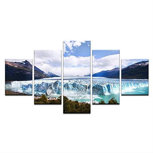 Snow Mountain Blue Sky Snow Mountain 5 Board Schilderij Modern Landschap Foto Foto Print Op Canvas 30X40 30X60 30X80Cm Geen Frame