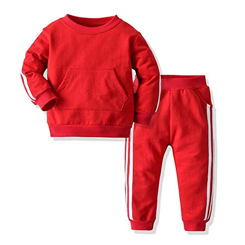 Joycebaby Unisex Baby Boys Girls Tracksuit 2-Piece Tricot Sweatshirt Jacket and Pant Active Clothing Set(Red, 80/12-18 Months)