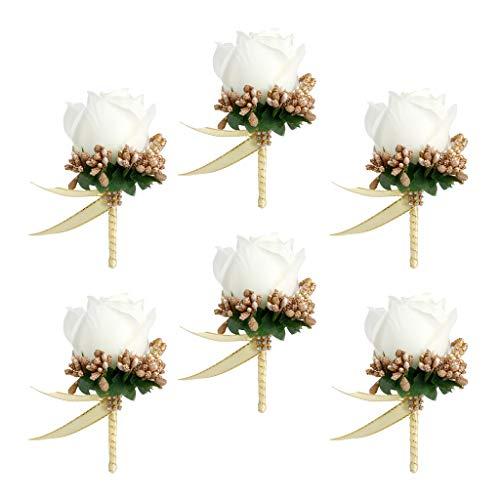 B Baosity 6xBride Bridesmaid Groom Fake Silk Rose Flower Brooch Pin Wedding Decor