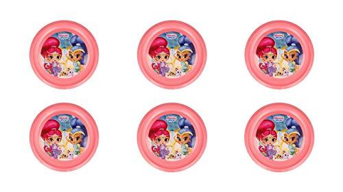 ALMACENESADAN 2677; Pack 6 Platos Shimmer and Shine; Reutilizables; Producto de plástico; No BPA; Ideal para Fiestas y cumpleaños.