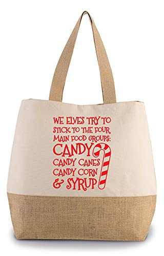 Hippowarehouse We elves try to stick to the four main food groups: candy, candy canes, candy corn, and syrup Premium reusable eco friendly 100% cotton tote shopper bag for life 43cm x 33cm x 17cm