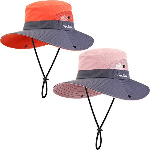 Geyoga 2 Packungen Sonnenschutz UV Hut Mesh Breite Brim Sonnenhut Outdoor Faltbar Strand Wandern Angeln Sommer Hut 56-58 cm (Rosa und Orange)