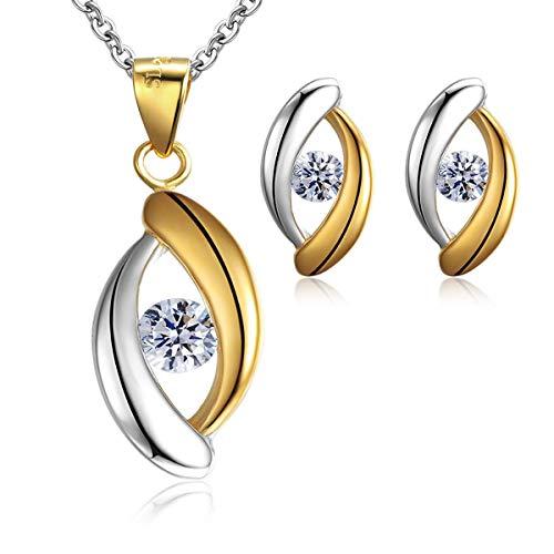 Juego de colgante y pendientes de botón, de plata maciza, incluye diamantes de imitación de circonitas cúbicas, ideales como regalo de boda y fiesta de compromiso