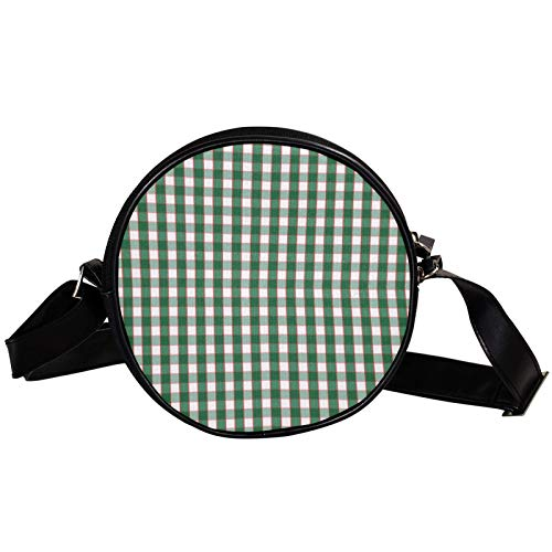 Christmas tartan vector patterns Diagonal pouch Round Crossbody Wallet, Shoulder Bag Fashion Circle crossbody shoulder bag Mini canvas Inclined shoulder bag
