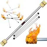 Profi Feuerdevilstick (Fire Devilstick) Feuer Devilsticks / Docht: 65mm Kevlar - inkl. Holz Handstäbe mit 2 mm Super-Grip Silikon! Flamme Devil Stick Jonglieren Devilsticks für Anfänger und Profis.