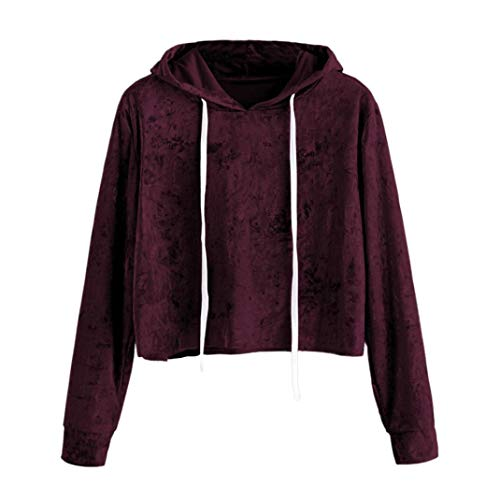 Sweatshirt Femme Sport Top Blouse Manteau,Covermason Femmes Velours Manche Longue Sweat à Capuche Pullover Sweat-Shirt Chemisier Pull Capuche Tops (Vin, L)