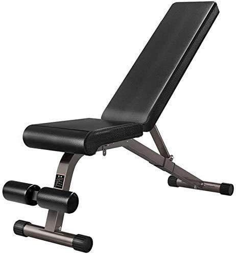 WTTO Hantelbank, Faltbar Fitnessbank Multifunktional Flachbank Verstellbare Höhe Oberkörpertrainer Für körperliche Übungen Ganzkörpertraining,Black_122*43 * 120cm