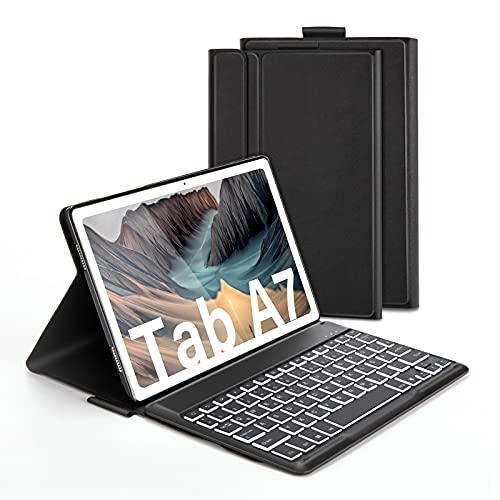 Beleuchtete Tastatur Hülle für Samsung Galaxy Tab A7 10.4 Zoll T505/T500/T507, Schützhülle mit Bluetooth Abnehmbarer QWERTZ Tastatur, 7 Farbige Hintergr&beleuchtung, Schwarz