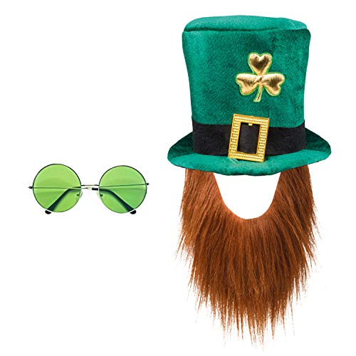 com-four® Leprechaun, Kobold Kostüme zum St. Patricks Day - Outfits und Accessoires für das grüne, irische Fest - Für Fasching, Fastnacht, Karneval, Parade, Motto-Party, Irish Pub (02-teilig - Set06)