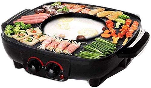 XIAOWANG Grill Und Hot Pot Doppeltopf, Koreanischer Grill Hot Pot Elektrogrill, Sicher Und Langlebig Leicht Zu Reinigen Multifunktions-Antihaft-Grill-Einteiler, 2200