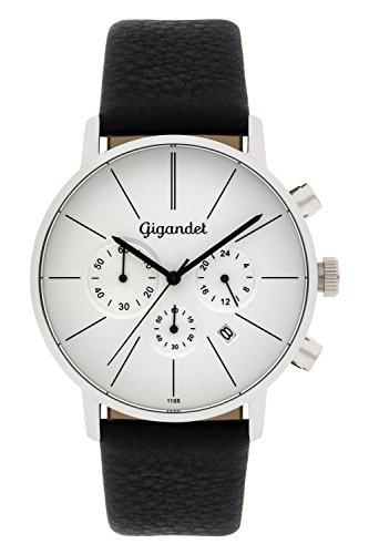 Gigandet Minimalism Herren-Armbanduhr Chronograph Quarz Analog Leder schwarz G32-001