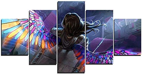 BTTKW Canvas Poster Unframed 5 Piece Wings Soldiers Art Prints on Canvas for Bedroom Living Room Wall Decoration Painting-30x40cmx2 30x60cmx2 30x80cmx1-Framed