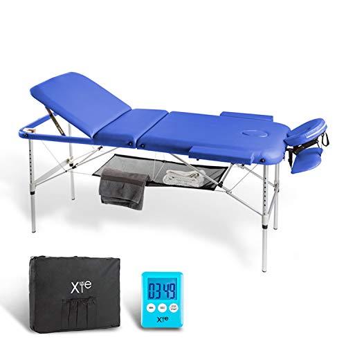 Camilla de masaje, 3 zonas, de aluminio, portátil y reclinable, con temporizador y toallero incluidos, color azul ⭐
