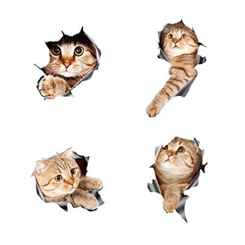 Balacoo 4Pcs Autoaufkleber Selbstklebende Karikatur 3D Katze Fensteraufkleber Autoaufkleber Dekorativer Aufkleber für Auto Schlafzimmer Vier Muster