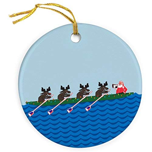 WSMBDXHJ Crew Porcelain Ornaments Novelty,Rowing Reindeer Christmas Ornaments for Home