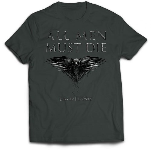 Game of Thrones All Men Must Die T-Shirt, Gris-Gris Charbon, X-Large Homme
