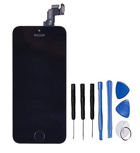 LL TRADER Pantalla Completa para iPhone 5C Negro, Reemplazo de Táctil Retina LCD Display Digitalizador con Botón de Inicio, Cámara Frontal, Sensor de Proximida, Altavoz de Auricular y Herramientas