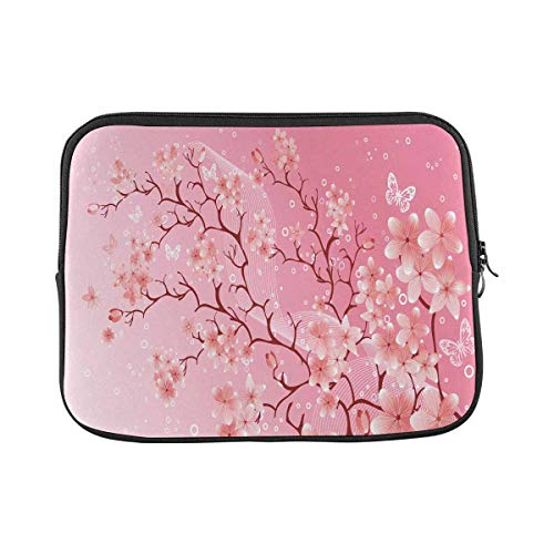 INTERESTPRINT Laptop Carrying Bag Cherry Blossom Notebook Sleeve Case Cover 14 Inch 14.1 Inch