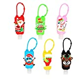 VEIREN 6 Pack Hand Sanitizer Holder with Detachable Silicone Case Xmas Tree Snowman Elk Travel Bottle Keychain Carriers Refillable Soap Lotion Shampoo Liquid Dispenser Containers(30ml, Xmas Styles)