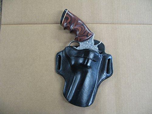 Colt Python Revolver 4' Barrel Leather 2 Slot Pancake Belt Holster Black CCW RH