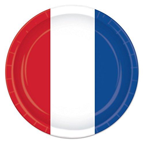 Beistle Lot de 8 assiettes en carton thème patriotique - USA 4 juillet - 22,9 cm - Rouge/Blanc/Bleu