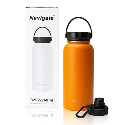 NAVIGATE 32oz Wide Mouth Stainless Steel Water Bottle with Two Lids Double Walled Vacuum Insulated Travel Sports Flask Cup Keep Drink Stay Cold Hot Leak Proof