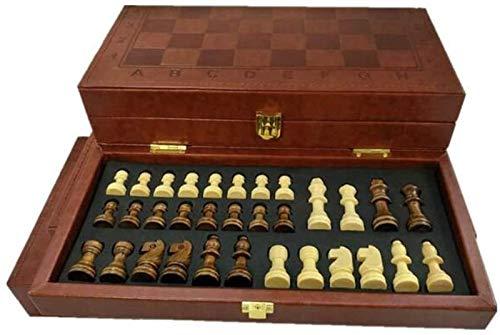 MARHD Ajedrez FolLeather Juego de Piezas de ajedrez Juego de Mesa Juego Divertido Colección de Piezas de ajedrez Juego de Mesa portátil (Size : 17cm)