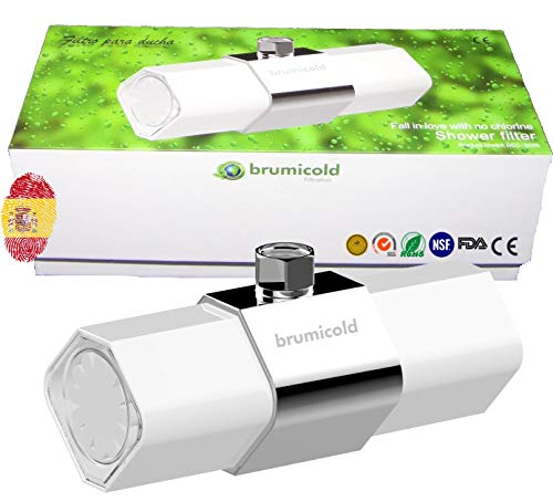 BRUMICOLD SPAIN filtro ducha con ultrafiltración por membrana PE, ablanda cal, elimina cloro y metales pesados, microplasticos, irritantes perjudiciales, ideal para pieles atopicas